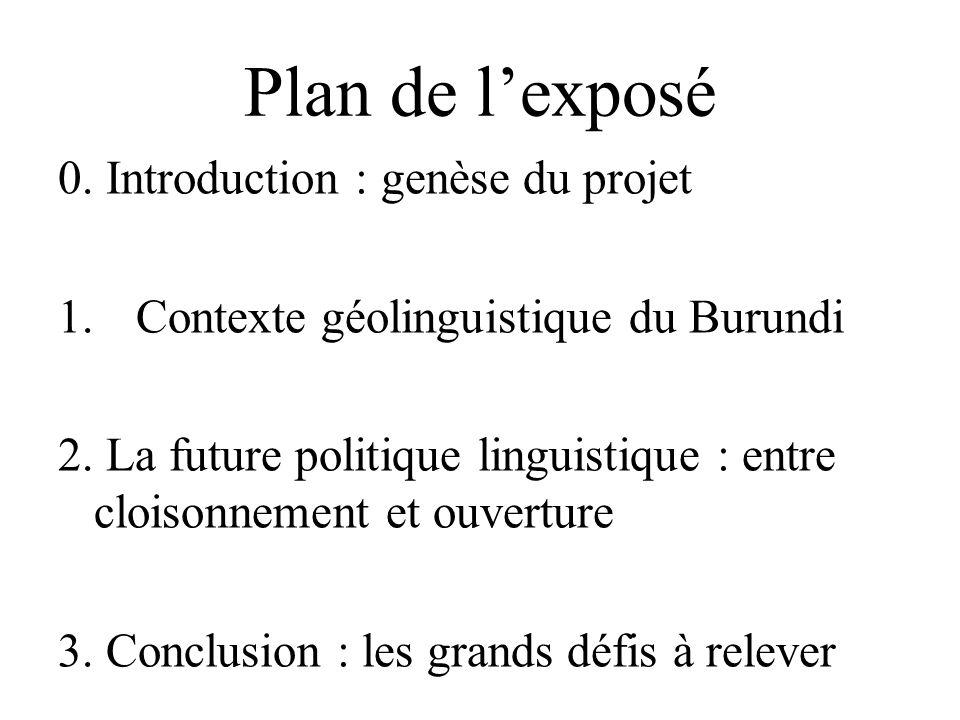 Plan de l'exposé 0. Introduction : genèse du projet