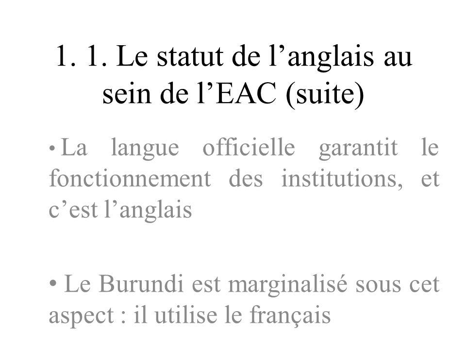 1. 1. Le statut de l'anglais au sein de l'EAC (suite)