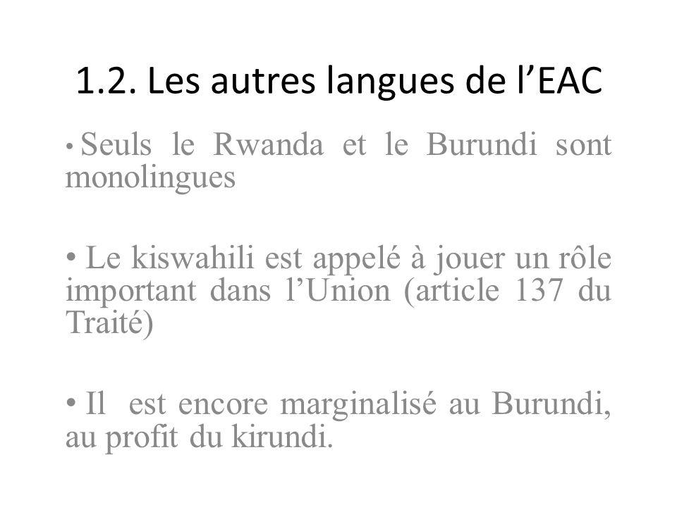 1.2. Les autres langues de l'EAC