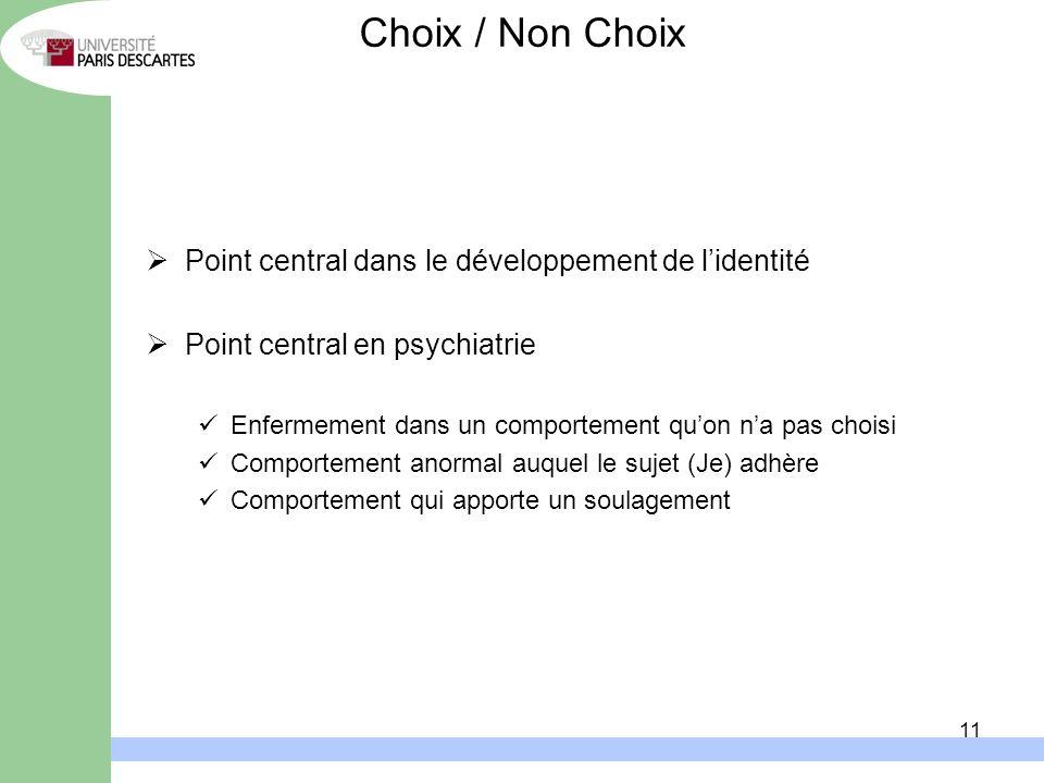 Choix / Non Choix Point central dans le développement de l'identité