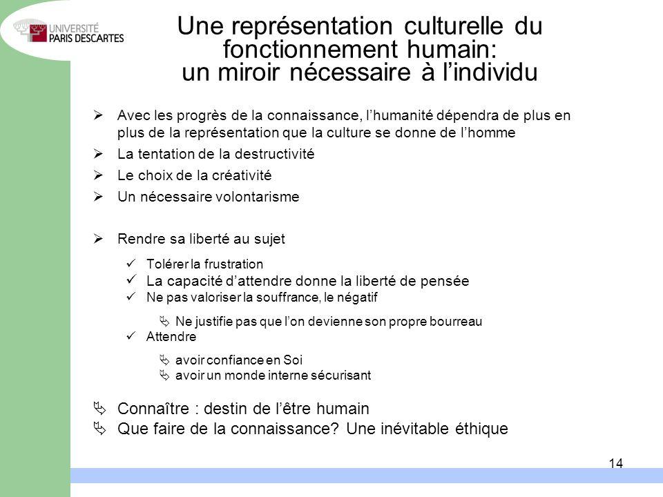 Une représentation culturelle du fonctionnement humain: un miroir nécessaire à l'individu