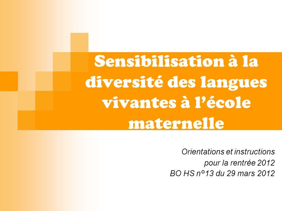 Sensibilisation à la diversité des langues vivantes à l'école maternelle
