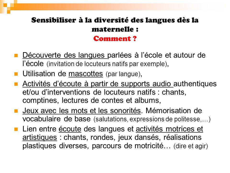 Sensibiliser à la diversité des langues dès la maternelle : Comment