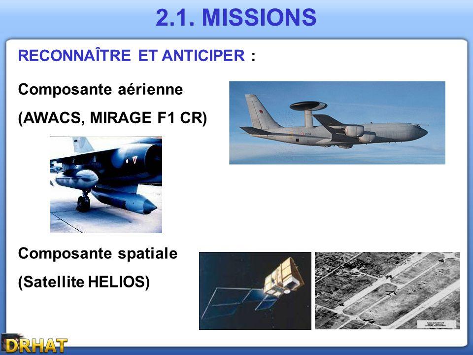 2.1. MISSIONS RECONNAÎTRE ET ANTICIPER : Composante aérienne