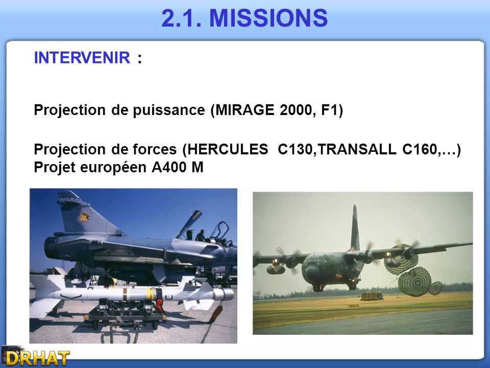 2.1. MISSIONS INTERVENIR : Projection de puissance (MIRAGE 2000, F1)