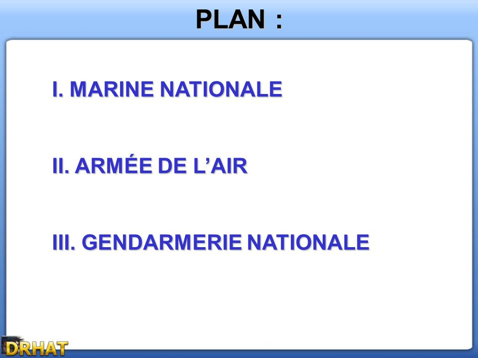 PLAN : I. MARINE NATIONALE II. ARMÉE DE L'AIR