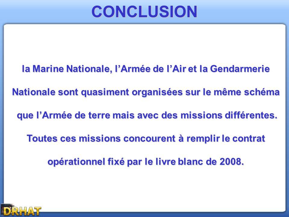 CONCLUSION la Marine Nationale, l'Armée de l'Air et la Gendarmerie
