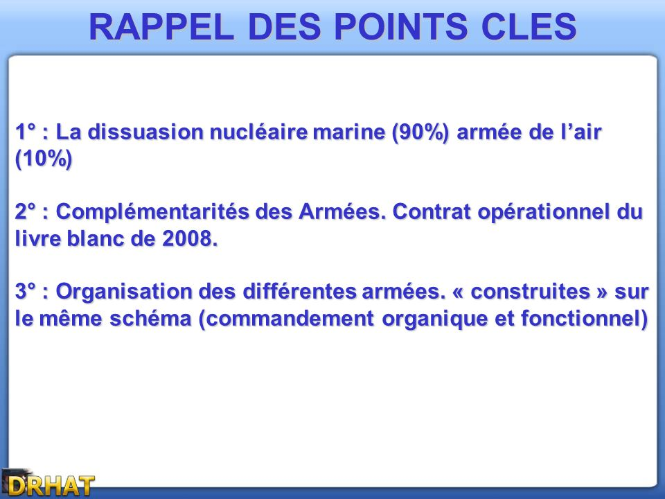 RAPPEL DES POINTS CLES 1° : La dissuasion nucléaire marine (90%) armée de l'air (10%)