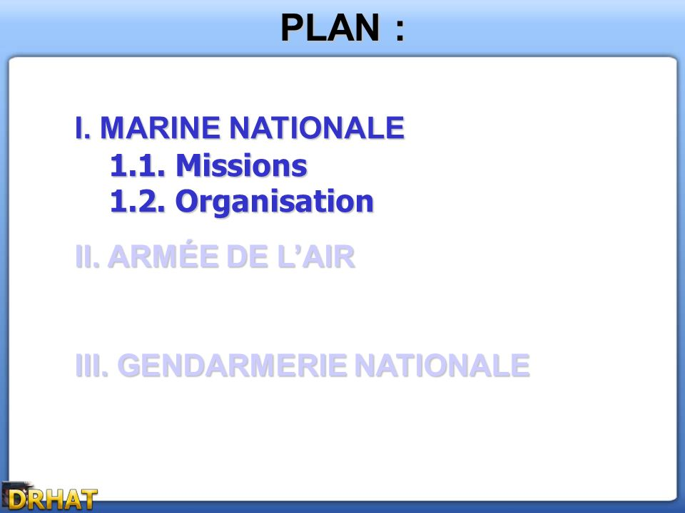 PLAN : I. MARINE NATIONALE 1.2. Organisation II. ARMÉE DE L'AIR