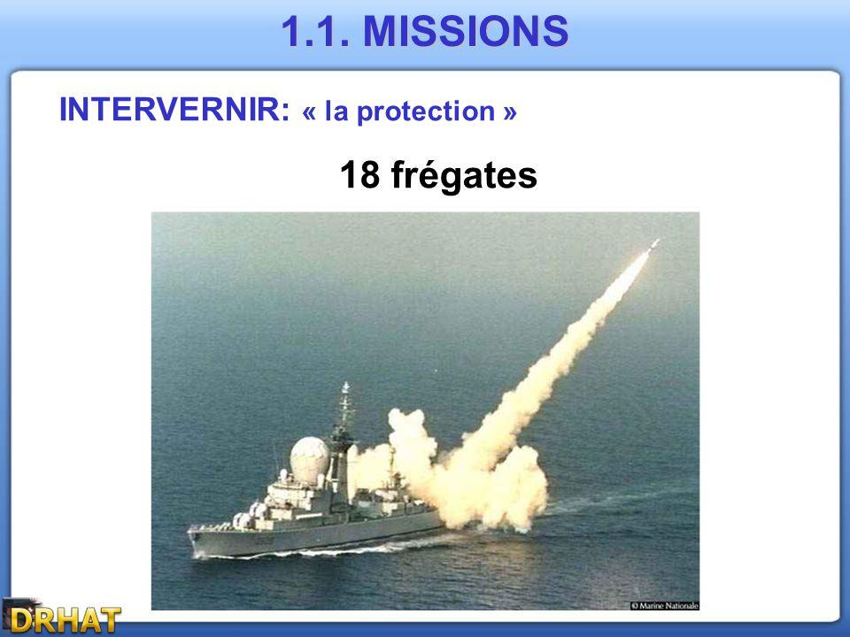 1.1. MISSIONS INTERVERNIR: « la protection » 18 frégates
