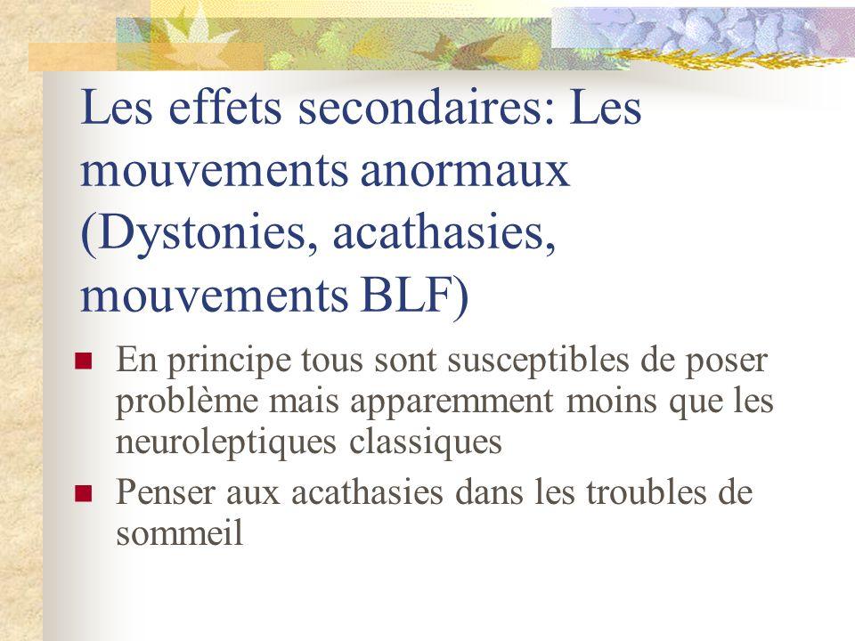 Les effets secondaires: Les mouvements anormaux (Dystonies, acathasies, mouvements BLF)