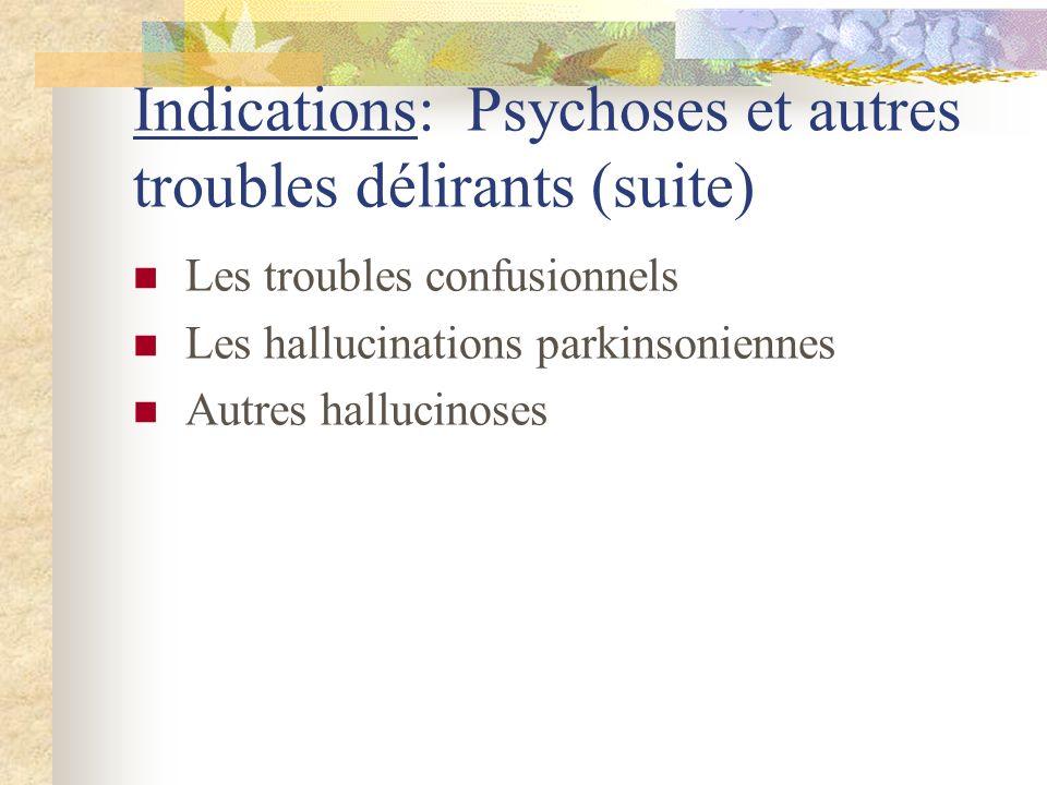 Indications: Psychoses et autres troubles délirants (suite)