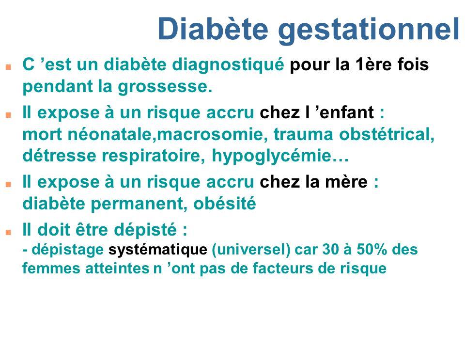 Diabète gestationnel C 'est un diabète diagnostiqué pour la 1ère fois pendant la grossesse.