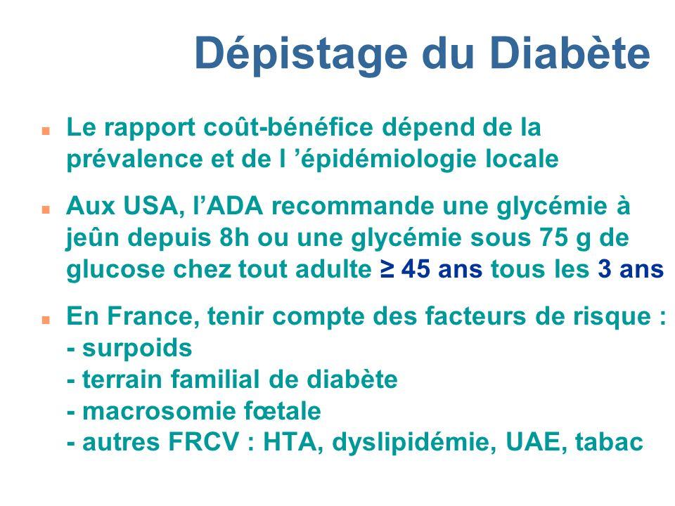 Dépistage du Diabète Le rapport coût-bénéfice dépend de la prévalence et de l 'épidémiologie locale.