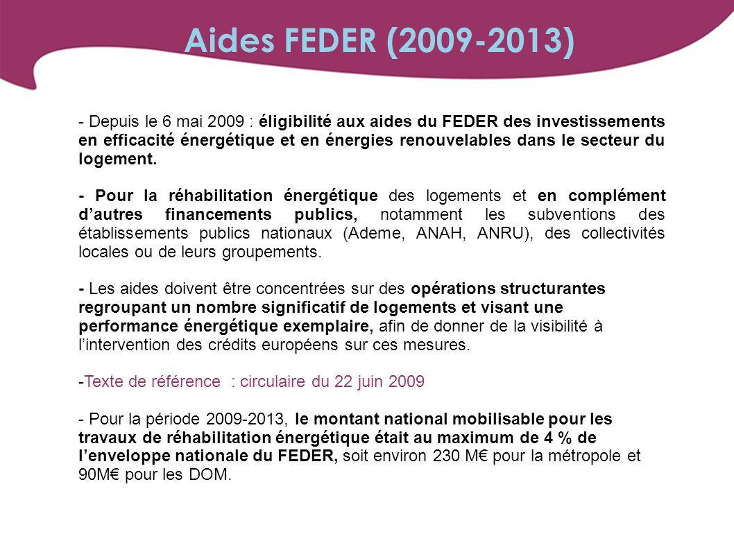 Aides FEDER (2009-2013)