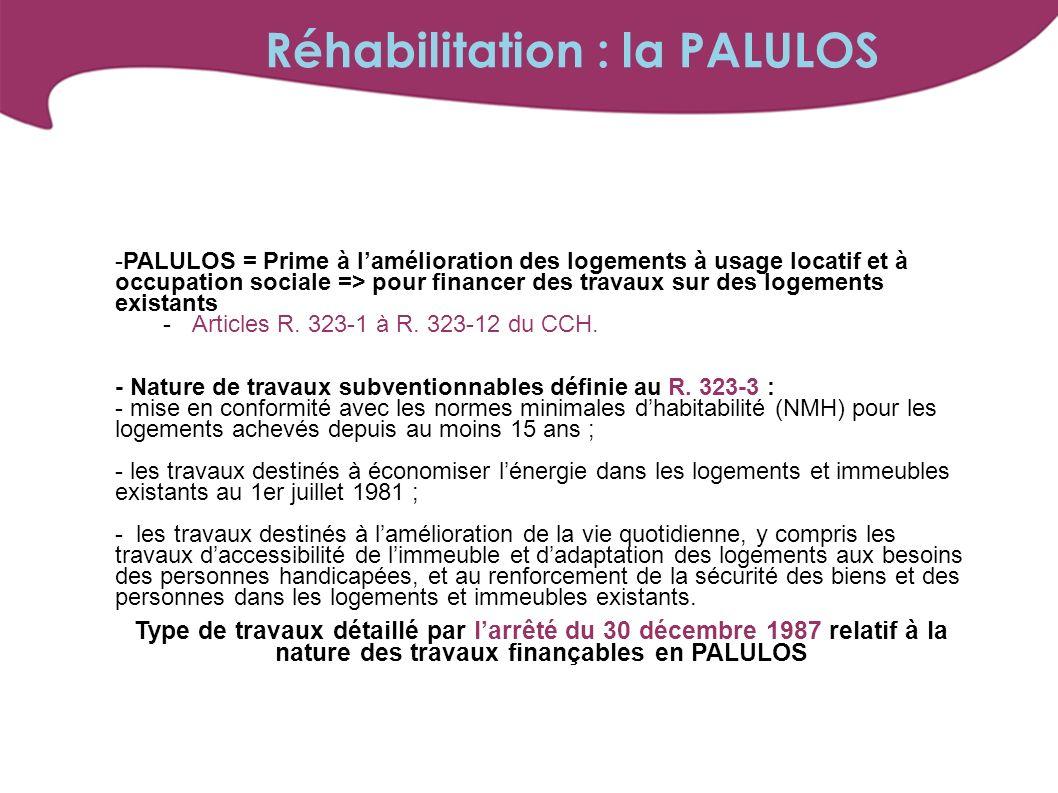Réhabilitation : la PALULOS