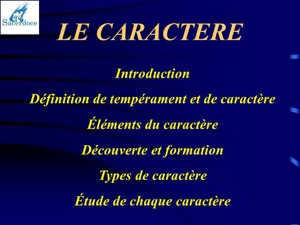 LE CARACTERE Introduction Définition de tempérament et de caractère