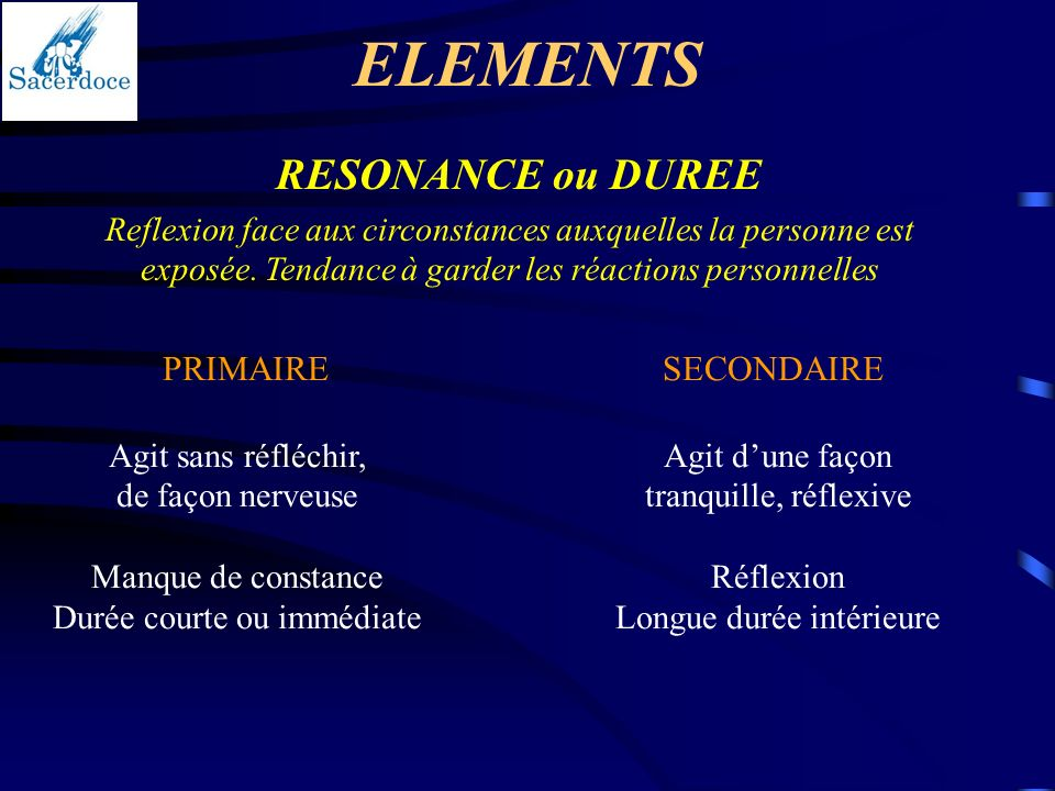 ELEMENTS RESONANCE ou DUREE PRIMAIRE SECONDAIRE