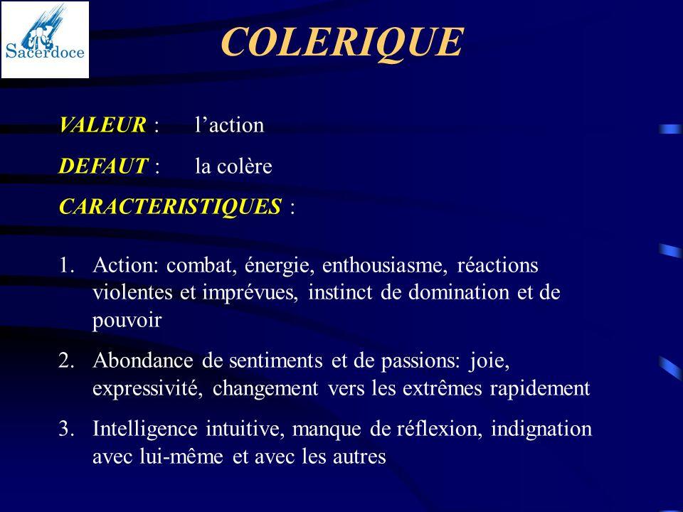 COLERIQUE VALEUR : l'action DEFAUT : la colère CARACTERISTIQUES :