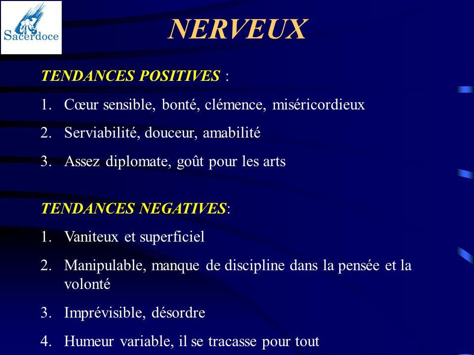 NERVEUX TENDANCES POSITIVES :