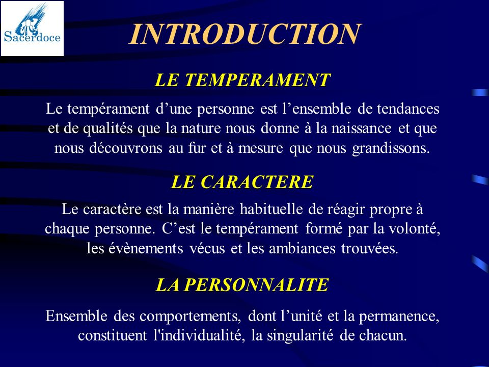 INTRODUCTION LE TEMPERAMENT LE CARACTERE LA PERSONNALITE