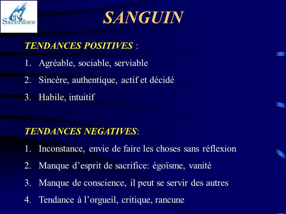 SANGUIN TENDANCES POSITIVES : Agréable, sociable, serviable