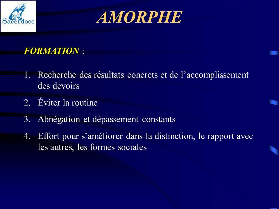 AMORPHE FORMATION : Recherche des résultats concrets et de l'accomplissement des devoirs. Éviter la routine.
