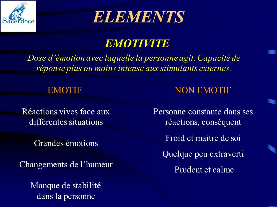 ELEMENTS EMOTIVITE EMOTIF NON EMOTIF