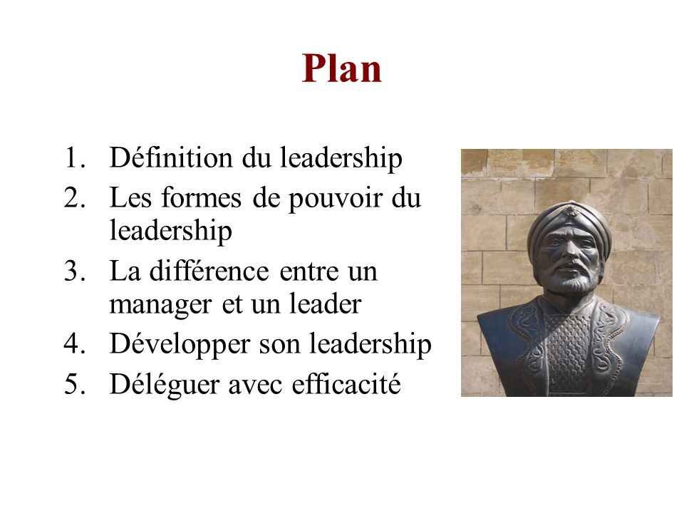 Plan Définition du leadership Les formes de pouvoir du leadership