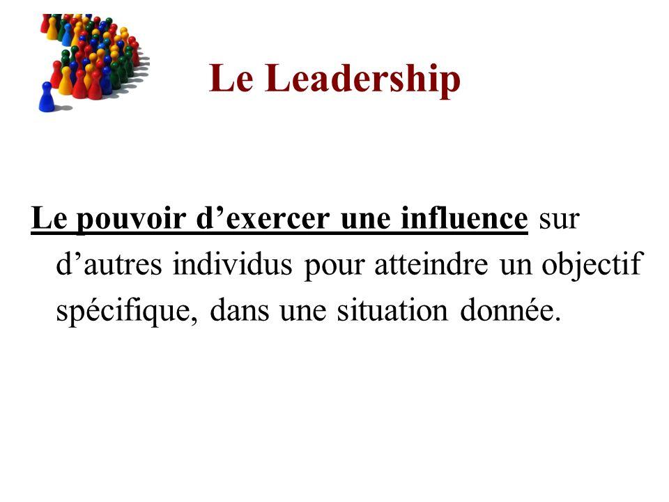 Le Leadership Le pouvoir d'exercer une influence sur d'autres individus pour atteindre un objectif spécifique, dans une situation donnée.