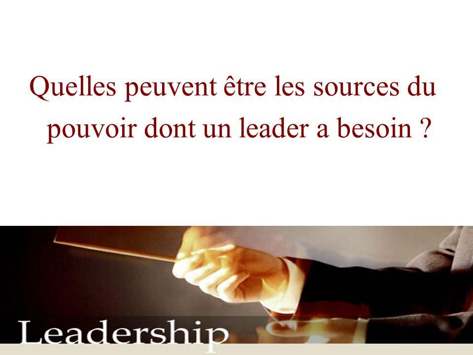 Quelles peuvent être les sources du pouvoir dont un leader a besoin