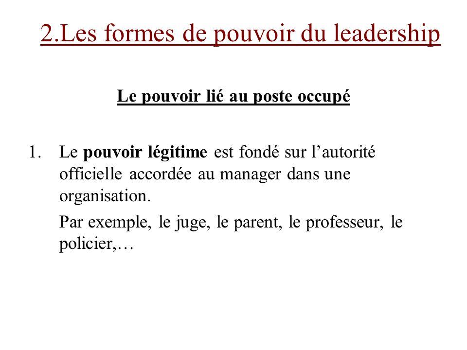 2.Les formes de pouvoir du leadership