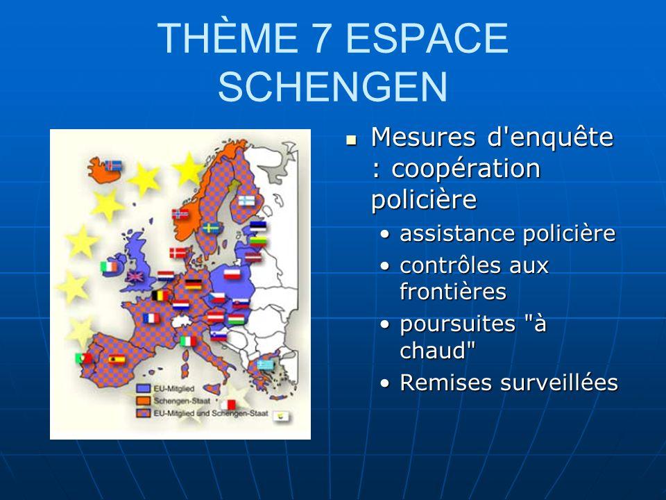 THÈME 7 ESPACE SCHENGEN Mesures d enquête : coopération policière