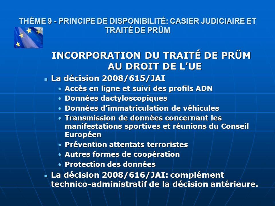 INCORPORATION DU TRAITÉ DE PRÜM AU DROIT DE L'UE