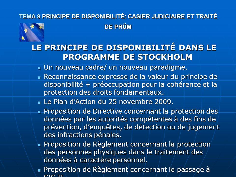 LE PRINCIPE DE DISPONIBILITÉ DANS LE PROGRAMME DE STOCKHOLM