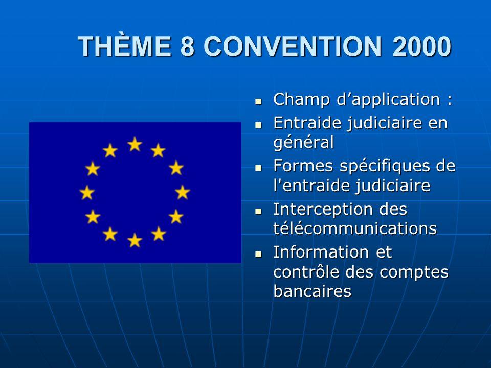 THÈME 8 CONVENTION 2000 Champ d'application :