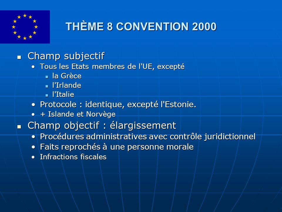 THÈME 8 CONVENTION 2000 Champ subjectif Champ objectif : élargissement