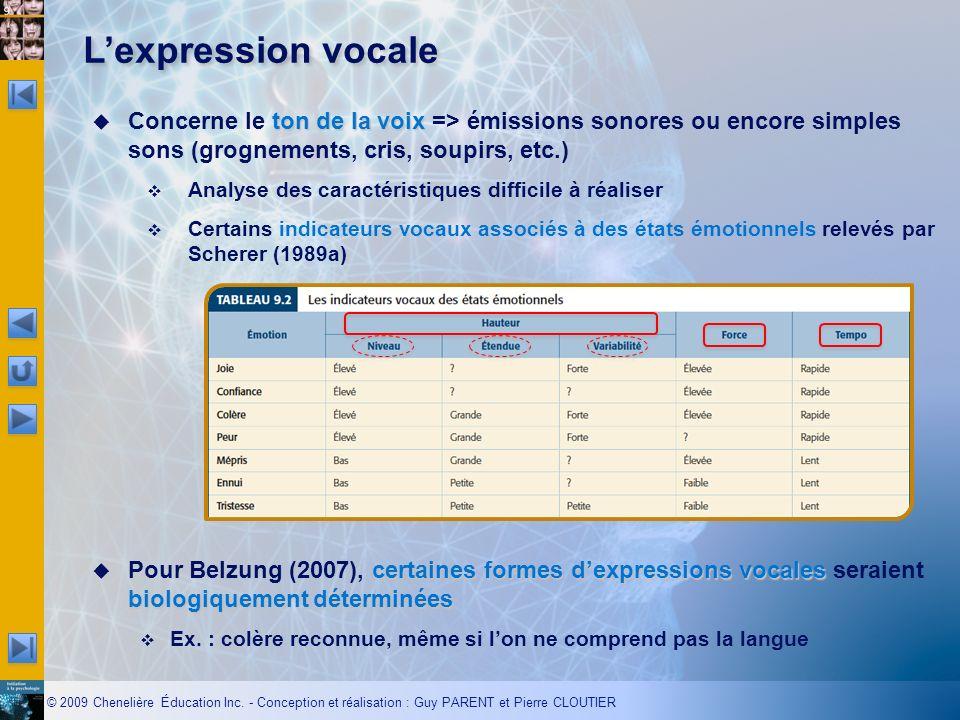 L'expression vocale Concerne le ton de la voix => émissions sonores ou encore simples sons (grognements, cris, soupirs, etc.)
