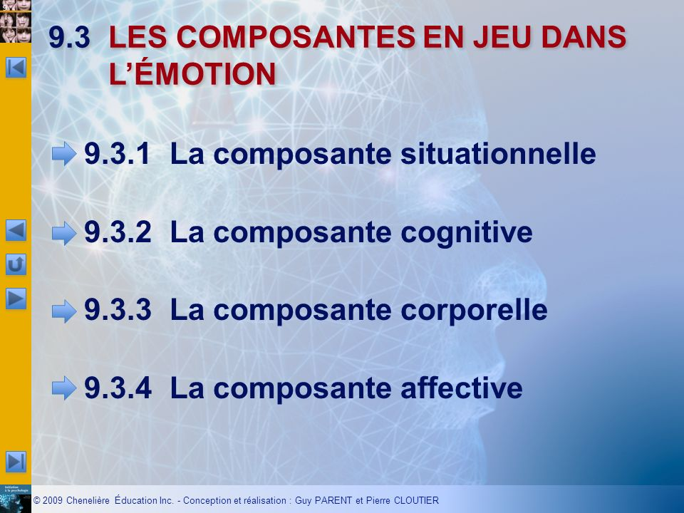 9.3 LES COMPOSANTES EN JEU DANS L'ÉMOTION