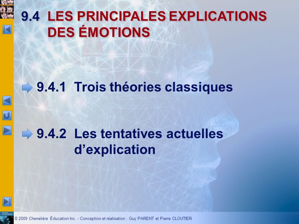 9.4 LES PRINCIPALES EXPLICATIONS DES ÉMOTIONS