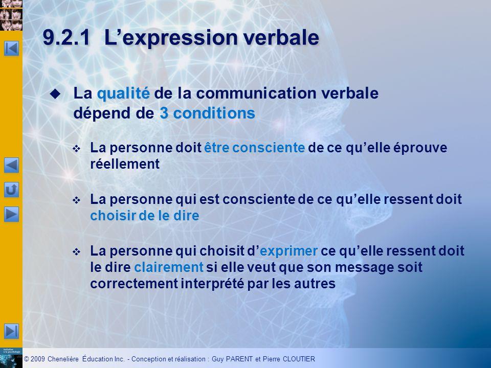 9.2.1 L'expression verbale La qualité de la communication verbale dépend de 3 conditions.