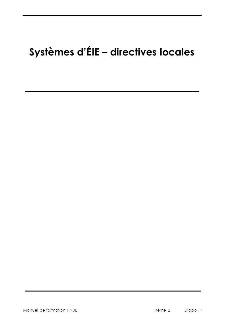 Systèmes d'ÉIE – directives locales