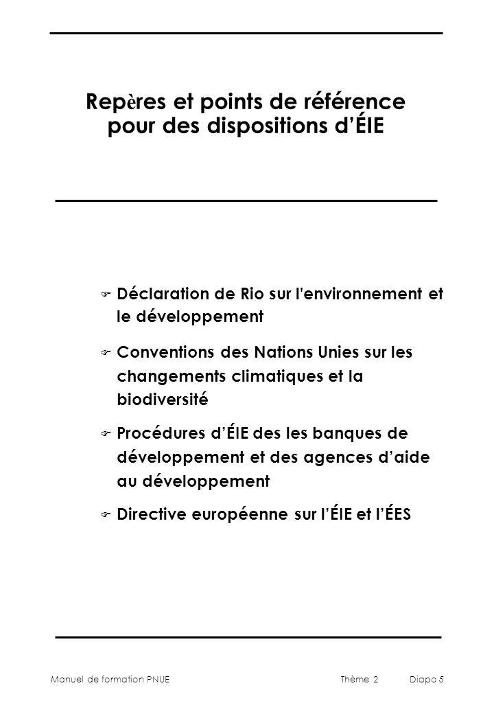 Repères et points de référence pour des dispositions d'ÉIE