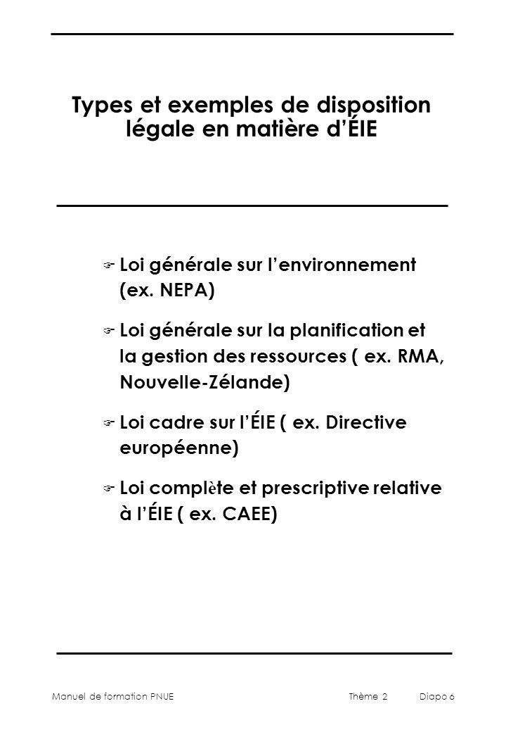 Types et exemples de disposition légale en matière d'ÉIE