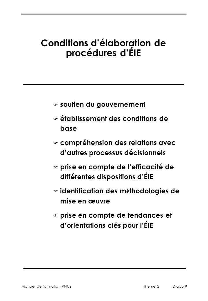 Conditions d'élaboration de procédures d'ÉIE