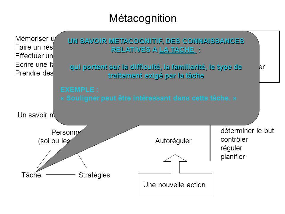 UN SAVOIR METACOGNITIF, DES CONNAISSANCES