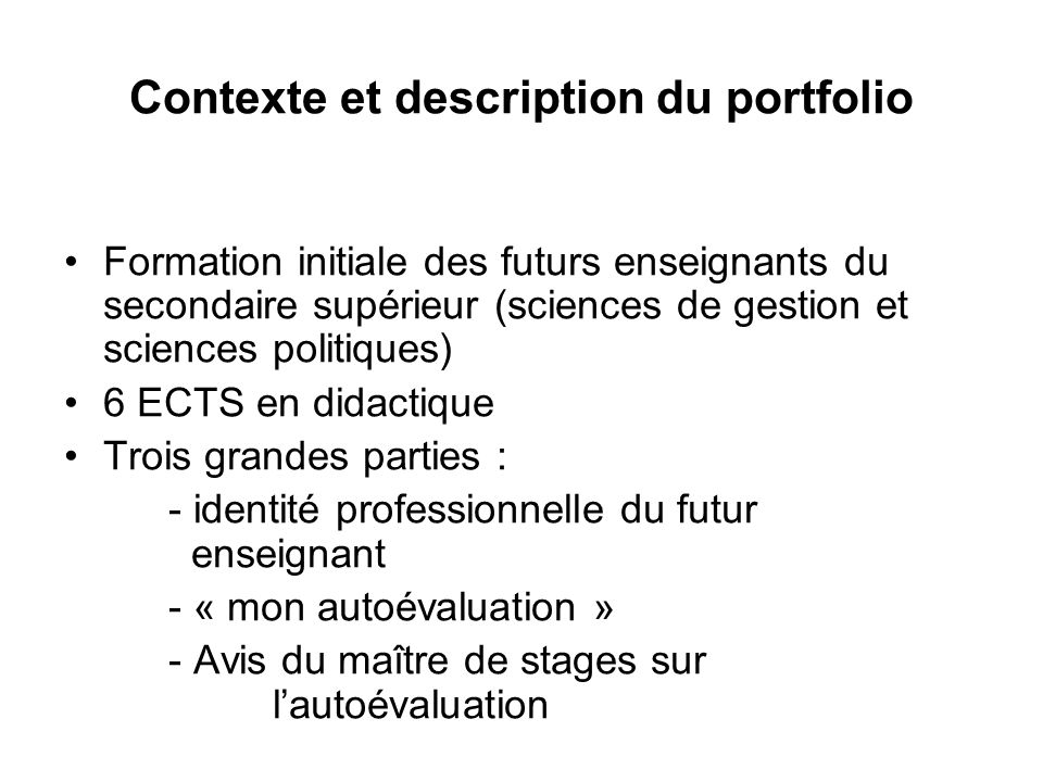 Contexte et description du portfolio