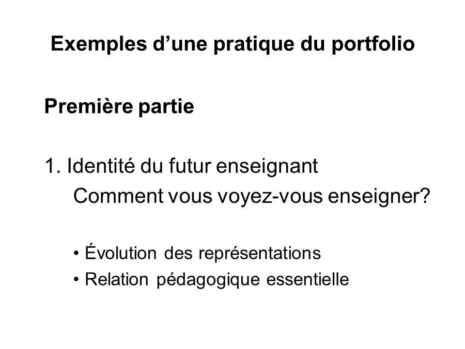 Exemples d'une pratique du portfolio