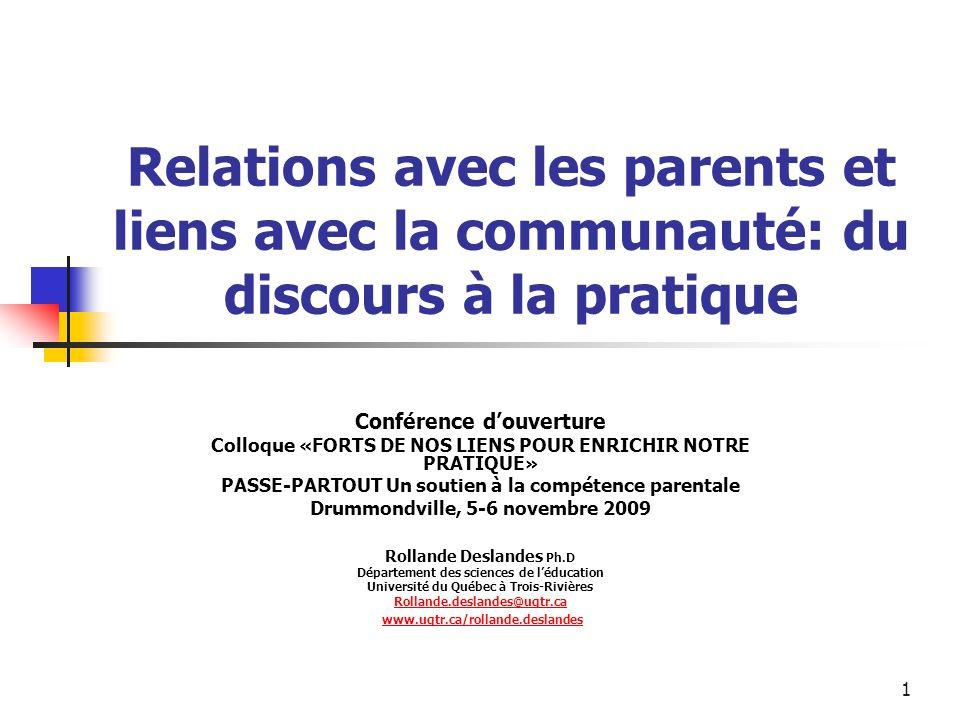 Relations avec les parents et liens avec la communauté: du discours à la pratique