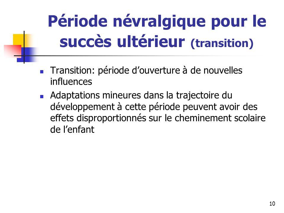 Période névralgique pour le succès ultérieur (transition)